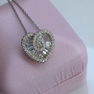 Jewelry - 14k white gold 3 ct diamond heart necklace silver
